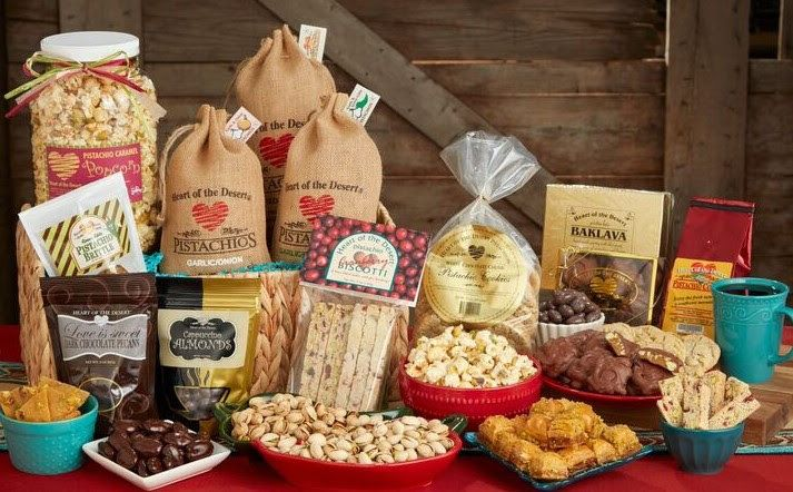 gift baskets with pistachios and snacks from Heart Of The Desert